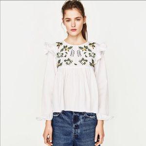 Zara Trafaluc Embroidered Flower Ruffle Top